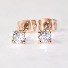 CZ diamond x pink finish ♪ Stud Earrings 4 mm ( チタンポスト )