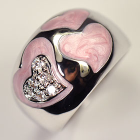 High quality CZ use ♪ pink enamel heart ring