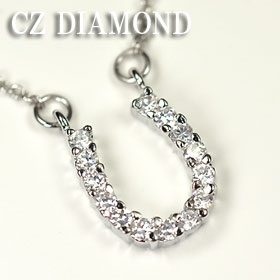 CZ diamond-pavé. design good luck Horseshoe necklace