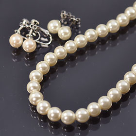 Take urgent ceremonial occasions and events ♪ Pearl Necklace & earrings ( earrings ) set ( 8 mm Pearl )