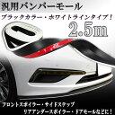 汎用モールバンパーモール 2.5M ブラック 黒色/白ライン バンパーガード リップスポイラー サイドステップなどに