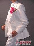 タキシード,白,ホワイト,ウエディング,結婚式,パーティ用,計算しつくされたシルエットで体のラインがきれいにみえるタキシードは正統派の花婿にぴったりの一着です!タキシード,ウエディ