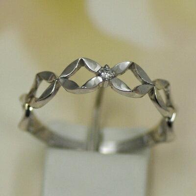 ダイヤモンドピンキーリング ホワイトゴールド (K14WG) ワンポイントのダイヤがかわいい 恋のおまじない ホワイトゴールド ダイヤモンド ピンキーリング詳しい