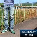 BLUEWAY:ビンテージデニム エンジニアインカットジーンズ(シェーバーフェード):M1630-5705 ブルーウェイ ジーンズ メンズ デニム ジーパン 裾上げ