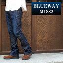 BLUEWAY:ソリッドストレッチデニム セミブーツカットジーンズ(ダークビンテージ):M1882-4100 ブルーウェイ ジーンズ フレア メンズ デニム ジーパン 裾上げ