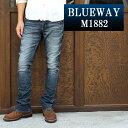 BLUEWAY:ソリッドストレッチデニム セミブーツカットジーンズ(オーバーエイジング):M1882-5305 ブルーウェイ ジーンズ フレア メンズ デニム ジーパン 裾上げ