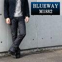 BLUEWAY:ソリッドストレッチデニム セミブーツカットジーンズ(ワンウォッシュ):M1882-8100 ブルーウェイ ジーンズ フレア メンズ デニム ジーパン 裾上げ