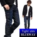 BLUEWAY:ソリッドストレッチデニム タイトスリムジーンズ(ダークビンテージ):M1880-4100 ブルーウェイ ジーンズ メンズ デニム ジーパン 裾上げ