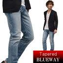BLUEWAY:ソリッドストレッチデニム レギュラーテーパードジーンズ(ハードビンテージ):M1881-5504 ブルーウェイ ジーンズ メンズ デニム ジーパン 裾上げ