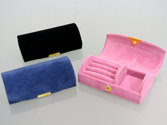 "S choice of 3 colors""and warm chamois-style portable トラベルジュ jewelry box (jewelry case, accessory case, jewelry box and presents and gift and carry and pink and blue, Navy Blue, black and black)"