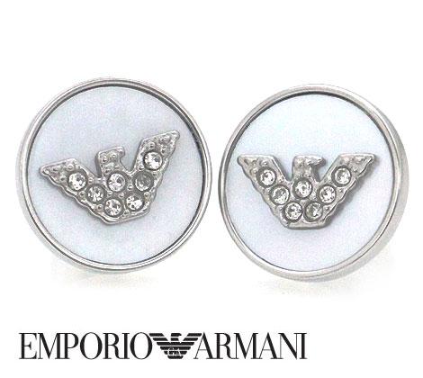 EMPORIO ARMANI エンポリオ アルマーニ 丸型 ピアス ステンレス イーグルロゴ ラインストーン付 シルバー EGS2355040【送料無料】 シンプルなデザインにラインストーン付のお洒落なピアスです♪ユニセックスにお使い頂けます♪