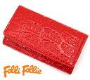 Folli Folli フォリフォリ ロゴマニア エナメル キーリング付 4連キーケース レッド WA0L034SR RED