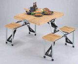 【】 M-3729 シダー 杉製ピクニックテーブル(ナチュラル) キャプテンスタッグ(CAPTAINSTAG) アウトドア用品・キャンプ用品・バーベキュー(BBQ)に折りたたみ式木