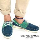 STEFANO GAMBA ステファノガンバ モカシン デッキシューズ 5802 JEANS/ブルー×グリーン ローファー/スリッポン/ドライビングシューズ