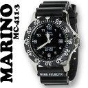 【送料無料】[マリノキャピターノ]MARINO capitano 腕時計 10気圧防水 逆回転防止ベゼル ブラック文字盤 MC 411-3 メンズ