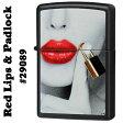 zippo(ジッポーライター) #29089 Red Lips & Padlock Black Matte/Zippoケース刻印不可商品