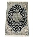 ペルシャ絨毯・カーペット ウール&シルク 手織り ペルシャ絨毯の本場(イラン ナイン産) 玄関マットサイズ:135cm×88cm【本物保証】