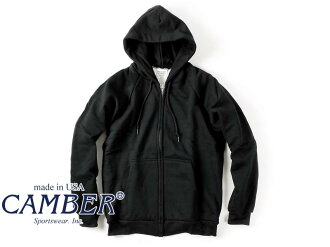 Camber CAMBER 531 ジップフードパーカー black MADE IN USA ( ZIPPER HOODED CHILL BUSTER フードスウェット )