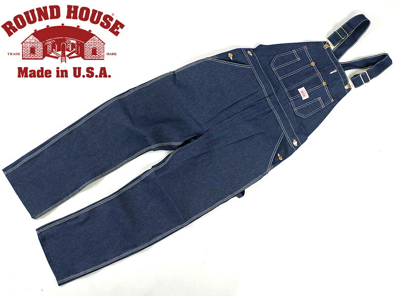 ■バンダナプレゼント■ラウンドハウス ROUND HOUSE #907 ローバック ブルー デニム オーバーオール MADE IN USA   (米国製 生デニム)