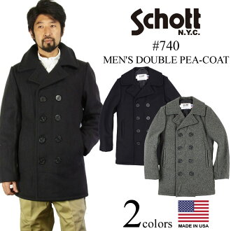 Pea coat Navy MADE IN the USA double shot SCHOTT 740 wool ( military coat Wool Double P-Coat P )