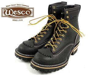 """Wesco #108100 Wesco work boots job master 8 """"black ( Jobmaster 8"""" Lace-to-toe )"""