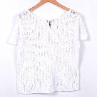 一字領水印製造短袖財編織物毛衣女士L NAUTICA/wei6396 150808