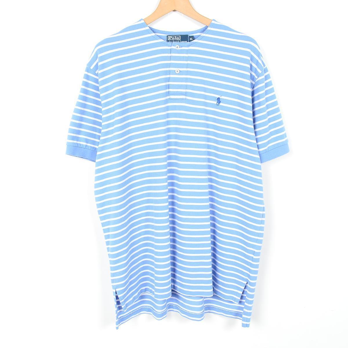 VINTAGE CLOTHING JAM TRADING | Rakuten Global Market: Remake Ralph Lauren POLO by Ralph Lauren border pattern short sleeve now color polo shirt Mens XL ...