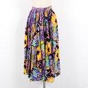 インド綿 花柄 サイケ柄 ロング ギャザースカート フリーサイズ /wes3013 【古着屋JAM】【中古】 160729【SS1612】