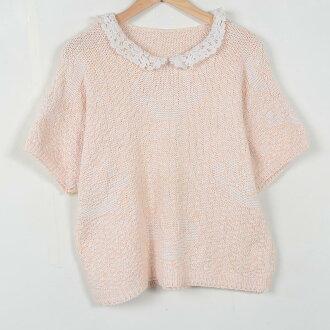 比賽領脖子織的花紋短袖棉針織的衫女士大小︰ L XL 未知 /wev5185