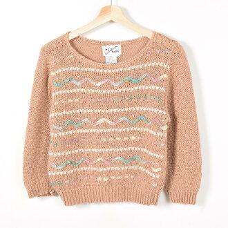 有毛線刺綉有孔玻璃珠的一字領7分袖苧麻編織物毛衣女士M Chic petite/weu4757