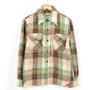 70年代 モンゴメリーワード Montgomery Ward チェック柄 リネン混 ウールCPOシャツ メンズS ヴィンテージ /wal73...