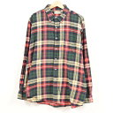 90年代 エルエルビーン L.L.Bean 長袖 ボタンダウン ライトネルシャツ USA製 メンズXL /wax8003 【中古】 【181005】
