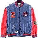 ショッピング刺繍 CAMPRI TEAMLINE MLB NEWYORK YANKEES ニューヨークヤンキース ストライプ バック刺繍 コットンスタジャン メンズL /wbf9165 【中古】 【190721】