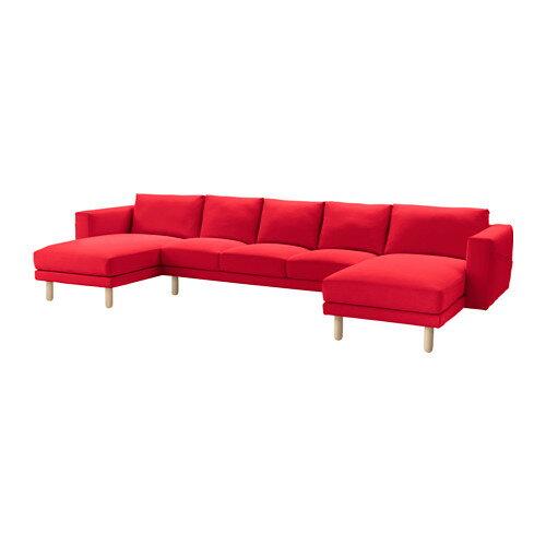 【★IKEA/イケア★】NORSBORG カバー 3人掛けソファ+寝椅子2台 フィーンスタ レッド/591.108.41