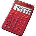 シャープ カラー・デザイン電卓 10桁 ミニナイスサイズ レッド 1台
