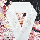 刺繍半襟 半衿【白地 白×金 まんじゅう菊と桜 万寿菊 11255】シルエリー 半襟 振袖 袴 成人式