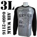 AIR WALK(エアウォーク)  ラグラン プリントTシャツ グレー×ブラック 0460-2116 COL.29 3L ビッグサイズ ビックサイズ 大きいサイズ 通販 通信販売