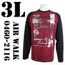 AIR WALK(エアウォーク)  ラグラン プリントTシャツ ワイン×ブラック 0460-2116 COL.01 3L ビッグサイズ ビックサイズ 大きいサイズ 通販 通信販売