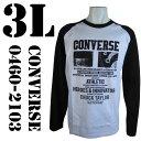 CONVERSE(コンバース)  ラグラン プリントTシャツ ホワイト×ブラック 白×黒 0460-2103 COL.09 3L ビッグサイズ ビックサイズ 大きいサイズ 通販 通信販売