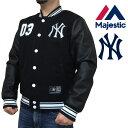 Majestic マジェスティック スタジャン ニューヨークヤンキース New York Yankees NYY ワッペン 刺繍 ウール×フェイクレザー MM23-NYK-0047 ブラック 黒 合成皮革 メジャーリーグ ベースボール スタジアムジャンパー ジャケット