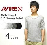 AVIREX(アヴィレックス) DAILY U-NECK 1/2 SLEEVES T-SHIRT リブ素材Uネック 5分袖無地Tシャツ 伸縮デイリー生地 五分袖インナー アビレック