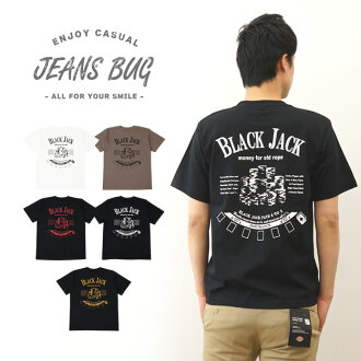 """BLACK JACK"" JEANSBUG ORIGINAL PRINT T-SHIRT original Black Jack print short sleeve T shirt casino chip Trump spade ACE"