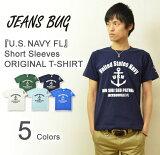 『U.S. NAVY FL』 JEANSBUG ORIGINAL PRINT T-SHIRT オリジナルユーエスネイビー ミリタリープリント 半袖Tシャツ アメリカ海軍 米軍 US
