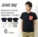 (バンダナポケT) オリジナル 本革 タブ アクセント 半袖 バンダナ ポケット Tシャツ ヤギ