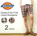 Dickies(ディッキーズ) Check Shortpants 麻混紡素材 チェック柄 ショートパンツ 膝丈ショーパン ハーフパンツ ワークパンツ チノパンツ 【1221715】