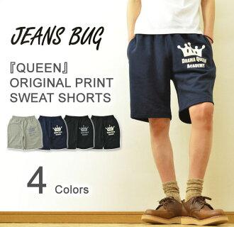 "(TB sweat shirt panties) ""QUEEN"" JEANSBUG ORIGINAL PRINT sweat shirt short pants original American casual print try blend Sweat Shorts short pants half underwear shorts jersey easy underwear"