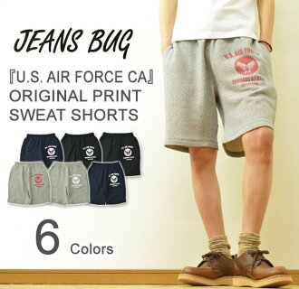 "( TB スウェットショーツ ) ""U. S. AIR FORCE CA ' JEANSBUG ORIGINAL PRINT sweat shorts オリジナルユーエスエアフォースミリタリー print Tri-blend Sweat Shorts shorts shorts short bread Jersey pants"