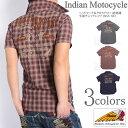【セール】 INDIAN MOTOCYCLE インディアンモトサイクル 半袖シャツ ヘッドマーク&クロスアロー 総刺繍 半袖チェックシャツ IMSS-603