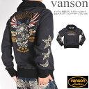 バンソン VANSON イーグル 刺繍プリント ボリュームネック 裏毛スウェット プルパーカー NVSZ-906-MIXBLACK