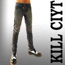 Kill CityよりApril77のJhonnyを想わせる斜めZIPデザインのウォシュ・グレー・スキニージーンズメンズ スキニー,スキニーデニム,スキニー,ロック ファッション,ロックスタイル、バイカーパンツ、送料無料、あす楽 05P01Feb14(ロックスキニー パンツ バイカーズ 服)